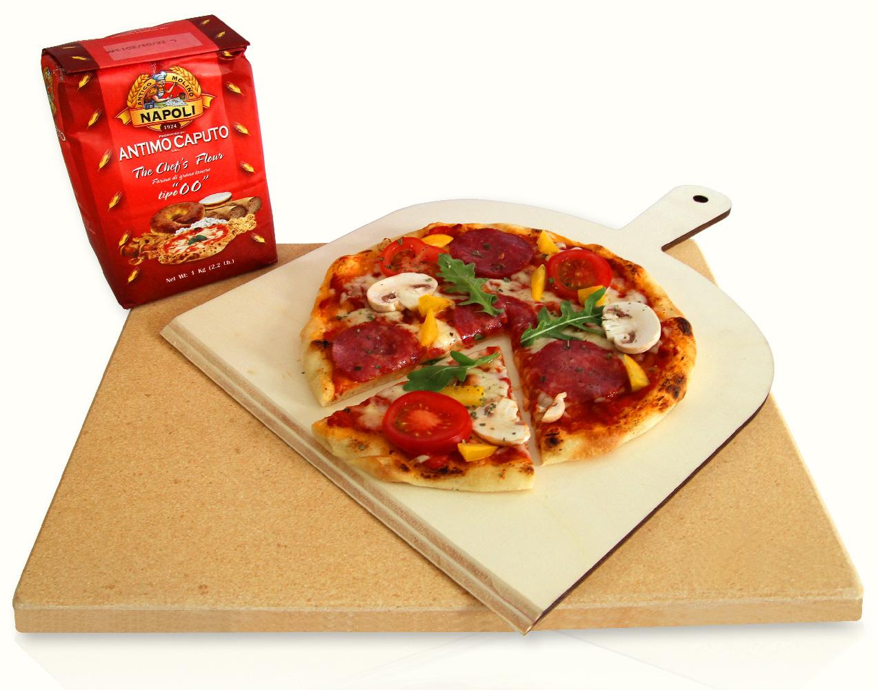 "Küchenprofi Pizzastein Profi ~ pizzastein brotbackstein set""profi"" inkl zubehör ebay"