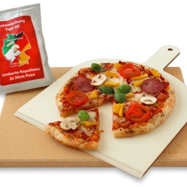 Vesuvo Pizzastein Cordierit eckig 38x30x1.5 inkl. Pizzaschaufel
