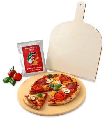 Vesuvo Pizzastein 38cm rund Cordierit inkl. Pizzaschaufel