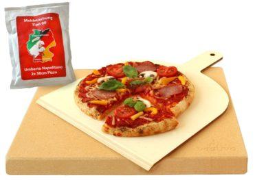 Vesuvo Pizzastein 38x30x3 eckig aus Cordierit mit Schaufel